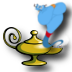 Funny genie from the lamp