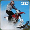 极端的雪地摩托特技自行车