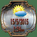 古董的时钟和天气小工具