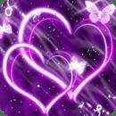 Hearts Purple Butterfly