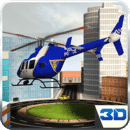 3D城市警用直升机飞行