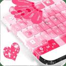 粉红色的心的键盘