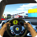 Racing in Car Simulator
