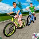孩子自行车骑手学校比赛