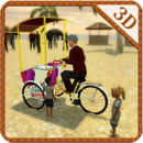 海滩冰淇凌交付自行车