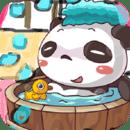 小熊猫顽皮爱洗澡