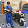 警察摩托车自行车真正的匪徒追逐